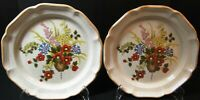 """Mikasa Basket of Wildflowers Dinner Plates 10 3/4"""" EC 403 Set of 2 Excellent"""