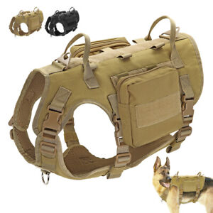 Military Tactical No Pull Dog Harness Large K9 Dog MOLLE Training Vest with Bags