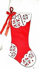 Elegant Large Christmas Stockings Sack Sock Gift Xmas Decoration Red & White 21""