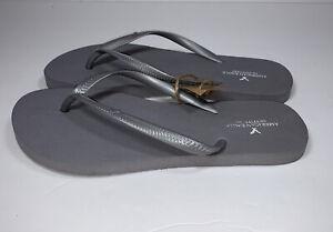 New NWT American Eagle Skinny Slim Flip Flops Sandals Gray Women's Sz Medium 7/8