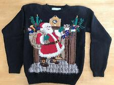 Vintage Northern Isles Hand Knit Christmas Holiday Santa Sweater Womens Small
