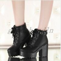 Lady Womens Round Toe Platform Block Heel Lace Up Punk Creeper Shoes Ankle BOOTS