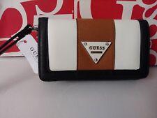 GUESS Bayview Saffiano Phone Wallet wristlet clutch black multi
