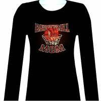 RHINESTONE BASKETBALL MOM LONG SLEEVE TOP SHIRT BLACK SIZE:S TO 3XL,JUNIOR CUT