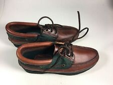 Men's Lands End leather Boat Shoes-Size 9.5 -Brown with Hunter Green 16189 New!