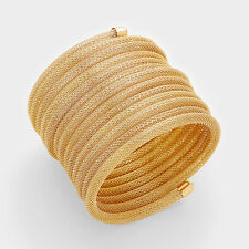 "2"" gold mesh tube coil bracelet bangle cuff"