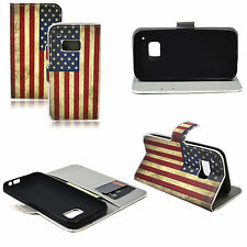 Flag Pattern Phone Leather Wallet Pouch Soft Case Cover Holder For HTC ONE M9