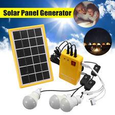Solar Power Panel Generator Kit w/ 3 LED Bulbs Light 5V USB Charger Home System