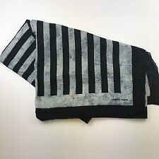 "Hermes Black Striped Cotton Scarf Blue Marble 54"" x 68"" France Shawl Wrap #51"