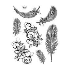 Viva Decor A5 Clear Silicone Stamps Set - Feathers #109