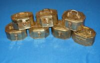 LOT of 7 Antique Brass Box Engraved Relief Jewelry Trinket Box Vintage Handmade