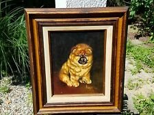 Vintage Oil Painting Chow Chow Black Tongue Puppy Dog Signed Harris  13/200