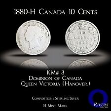 1880 H Canada 10 Cents (Silver) - Victorian Sterling Dime (aG-G)