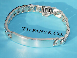 """Tiffany & Co Mens Sterling Silver Makers Identity Curb I.D Bracelet 8.25"""" Chain"""