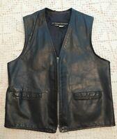 Leather Motorcycle Vest Harley Davidson AMF Black Large Size 40 Vintage 1970's