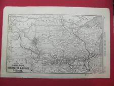 1920 CHICAGO BURLINGTON & QUINCY RAILWAY SYSTEM MAP DEPOT LOCATION 97 YEAR OLD