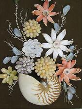"""Vintage Sea Shell Shadow Box Wall Art For Nautical or Tiki Bar 15"""" x 27"""" Brown"""
