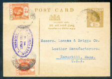 Ceylon King George 5th 2c printed postcard used to the States (2020/03/09#02)