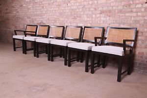 Michael Taylor for Baker Ebonized Walnut and Cane Dining Chairs, Fully Restored
