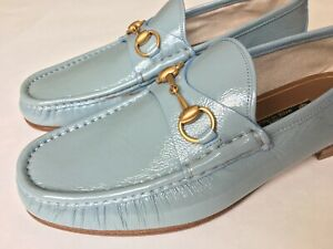 RARE GUCCI 1953 Sky Blue Patent Leather Gold Horsebit Loafer UK 8.5, US 9 $800