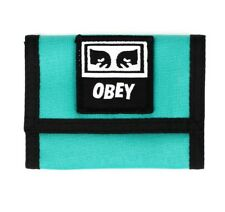 OBEY Drop Out Tri Fold Wallet Teal Card Cash Money Patch Skate Fashion Tee NWT