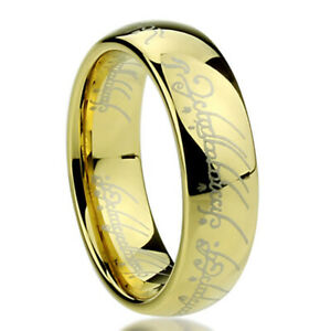 6mm Titanium Ring Laser Lord of Rings Yellow Color Band Gift box size 4.5