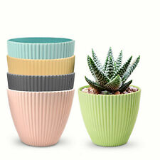 5 Pack 6' Plastic Planters Flower Plant Pots for Succulents Herbs Multi-Color
