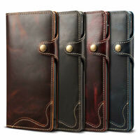 For Samsung Galaxy S10 Note 10+ 100% Genuine Real Leather Wallet Flip Case Cover