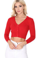 YEMAK Women's Cropped Bolero 3/4 Sleeve Button-Down Cardigan Sweater CO129(S-XL)