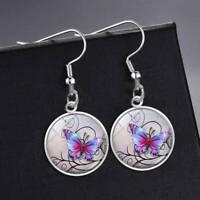 Frauen Mode Ohrringe Mystical Butterfly Foto Silber Cabochon Ohrringe