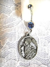 HOWLING WOLF HEAD TOTEM SPIRIT w MOON & FEATHER CHARM BLUE CZ BELLY BUTTON RING