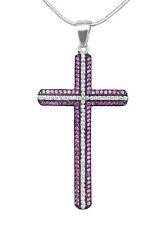 Herrliches Kreuz aus 925er Silber, rubinrot
