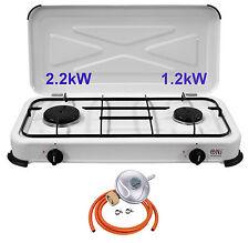 NJ-02 Camping LPG Gas Stove 2 Burner Enamel Lid Portable Outdoor Butane 3.4kW