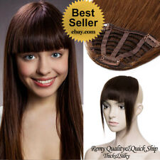 Thick Bangs 100% Remy Human Hair Extensions Clip In Fringe Black Brown Blonde US