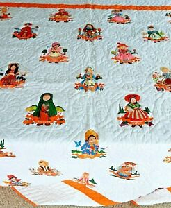 Handmade Vintage 1960's Dolls of The World Double Size Quilt Women of Countries