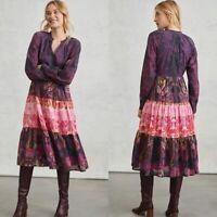 Anthropologie Roopa Pemmaraju Multicolor Floral Calla Tiered Midi Dress Medium