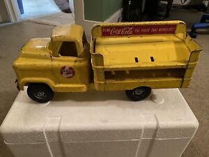"""Vintage Buddy L Coca Cola Large 14"""" Yellow Pressed Steel Delivery Truck"""