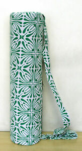 White Green Hand Block Print Yoga Mat Carrier Bag Beach Gym Exercise Bags Throw