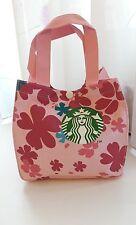 [Starbucks Coffee] Mini Colorful Sakura Canvas Tote Lunch Bag (20x20x12 cm) Pink