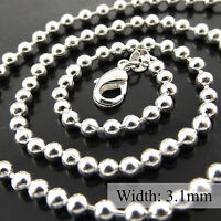 """Necklace Pendant Chain Real 925 Sterling Silver S/F Bead Ball Link Design 20"""""""