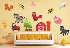 Childrens Animal Farm cow duck hen pig horse tractor bird Wall Stickers Decal 34