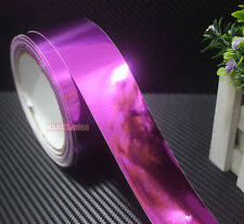 "Bid 1.2"" x 60"" Rose Red Car Glossy Mirror Chrome Vinyl Wrap Tape Sticker CRAW"