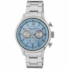 Nautica Para hombres Reloj A19631G: Analógico de Cuarzo Esfera Azul Acero Plateado RRP £ 260