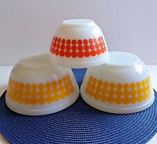 Pyrex Ovenware Mixing Bowls Vintage Polka Dots 401 Orange 402 Yellow ~ Lot of 3