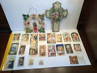 Vintage Holy Cards Wall Hanging Paper Valentine Easter Cross Jesus Mary Bible