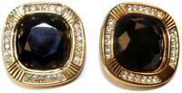 Stunning!! Swarovski Large Black & Crystal Rhinestone Goldtone Clip Earrings SAL