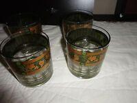VINTAGE CERA GREEN GOLDEN GRAPE 24K GOLD OLD FASHIONED SET OF 4 BAR GLASS