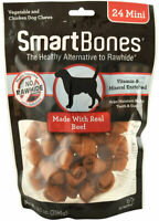 SmartBones Mini For Dogs Digestible vitamins minerals health Beef 24 pc 14oz