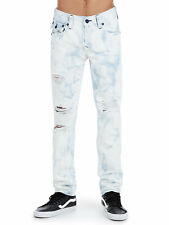 True Religon Men's Big T Distressed Skinny Fit Acid Wash Jeans With Rips (34)