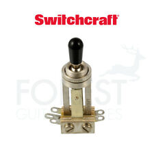 Switchcraft ® long toggle switch straight, chrome with black tip, Gibson ® style